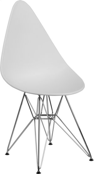 Allegra Series Teardrop White Plastic Chair with Chrome Base