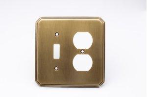 Single Toggle/Single Duplex Square Deco Switch Plate - Antique Brass