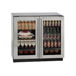 "U-Line Modular 3000 Series 36"" Glass Door Refrigerator With Stainless Frame (Lock) Finish And Double Doors Door Swing (115 Volts / 60 Hz)"
