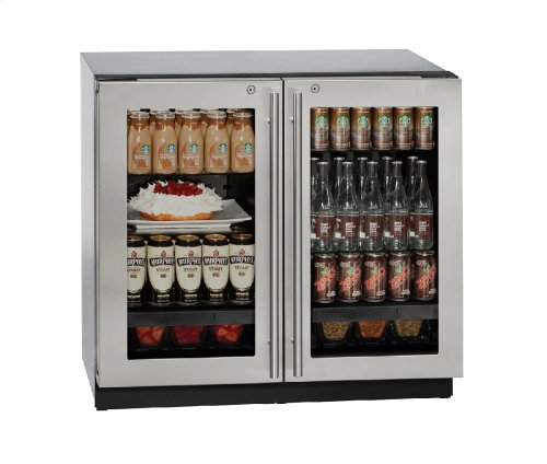 "Modular 3000 Series 36"" Glass Door Refrigerator With Stainless Frame (lock) Finish and Double Doors Door Swing (115 Volts / 60 Hz)"
