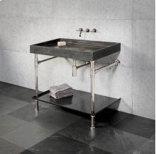 Ventus Bath Sink With Tray Antique Gray Limestone / 24in / Polished Nickel