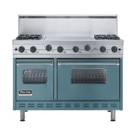 """Iridescent Blue 48"""" Sealed Burner Range - VGIC (48"""" wide, four burners 24"""" wide griddle/simmer plate)"""