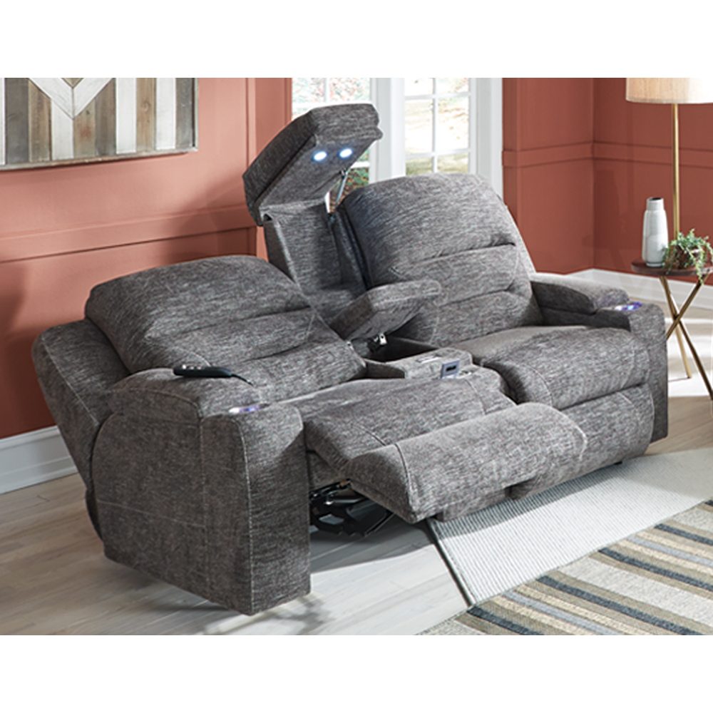 Triple Power Sofa W/Wand/Fold Down Table W/USB/Lights/
