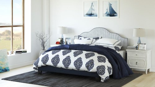 Emerald Home Anchor Bay Upholstered Bed Navy B134-10hbfbr-04