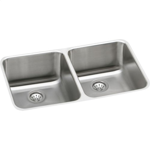 """Elkay Lustertone Classic Stainless Steel, 30-3/4"""" x 18-1/2"""" x 7-7/8"""", Equal Double Bowl Undermount Sink Kit"""