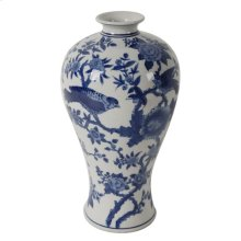 Ren Blue and White Bird Vase
