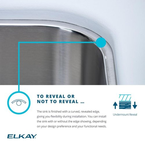 "Elkay Lustertone Classic Stainless Steel 16-1/2"" x 20-1/2"" x 4-3/8"", Single Bowl Undermount ADA Sink w/Perfect Drain"