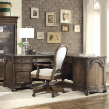 Belmeade - L Desk & Return - Old World Oak Finish