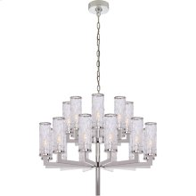 Visual Comfort KW5201PN-CRG Kelly Wearstler Liaison 20 Light 34 inch Polished Nickel Chandelier Ceiling Light, Kelly Wearstler, Double-Tier, Crackle Glass