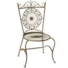 Verdigris Fleur de Lis Medallion Chair.