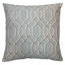 Frances Contemporary Decorative Feather and Down Throw Pillow In Sea Jacquard Fabric