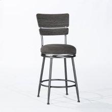 Melange Wood Back Counter Height Stool - Dark Gray Wirebrush Wood / Charcoal Metal