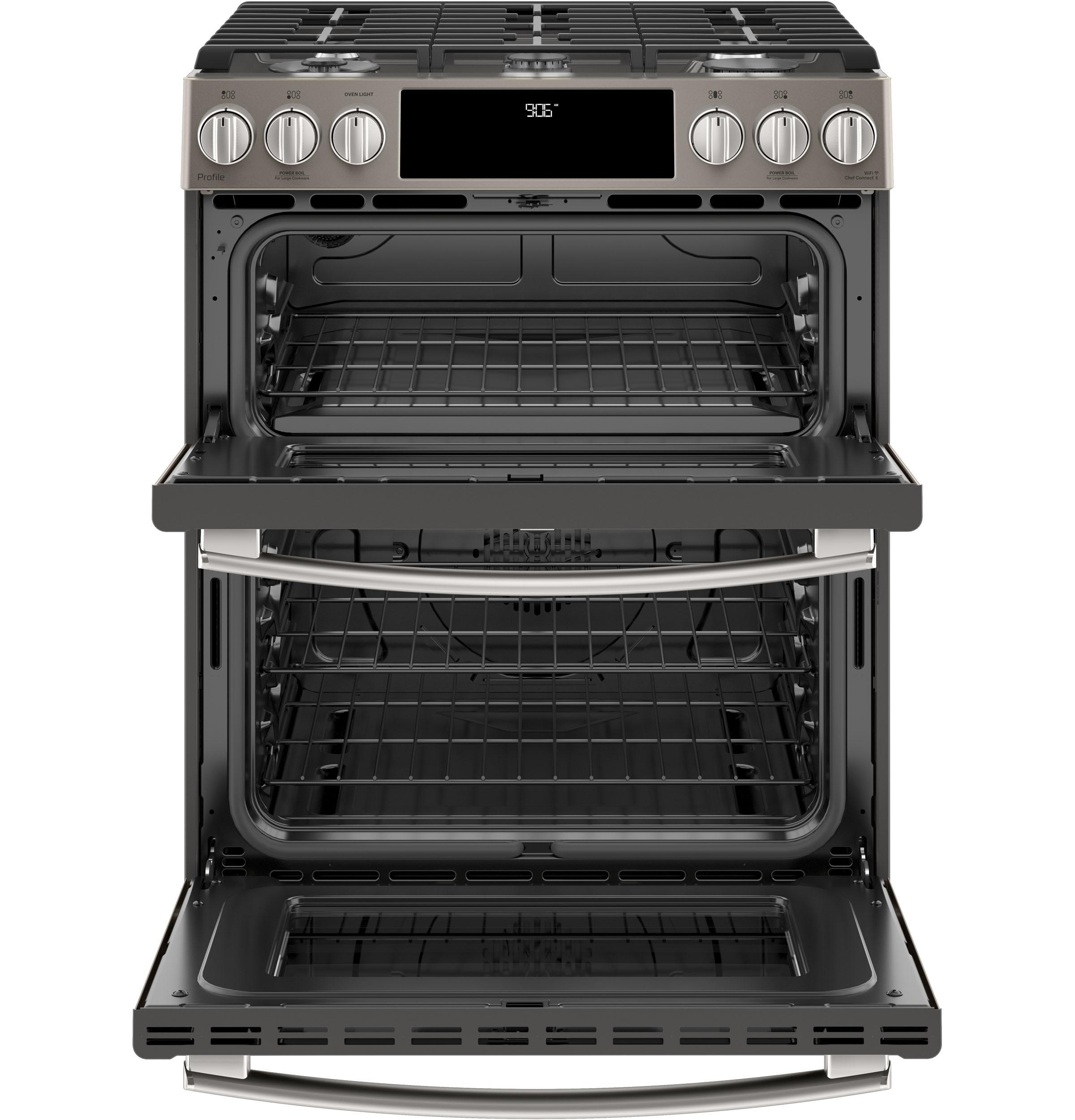 ge profile series 30 slide in front control gas double oven convection range ge slide in. Black Bedroom Furniture Sets. Home Design Ideas