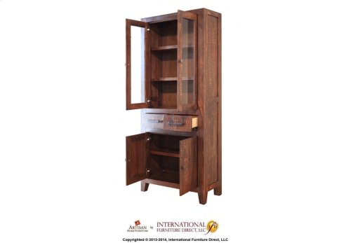 Cabinet w/2 glass doors, 2 drawers & 2 panel doors