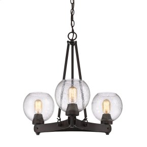 Galveston 3 Light Chandelier in Rubbed Bronze with Seeded Glass