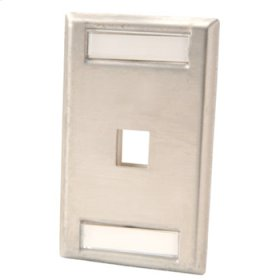 Single gang stainless steel faceplate, holds one Keystone jack or module
