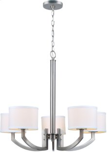 5-lite Chandelier Lamp, Ps/white Fabric Shade, E12 G 60wx5