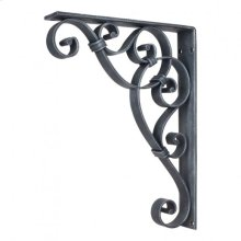 "1-7/8"" x 10"" x 13-1/2"" Metal (Iron) Scrolled Bar Bracket with Knot Detail. Finish: Swedish Iron Machined. Mounting Screws (#8x3/4"") Included. Not for outdoor use."
