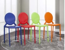 "Mirage Multi 24""stools (4pk) Green, Red, Blue, Orange"