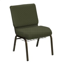 Wellington Avocado Upholstered Church Chair with Book Basket - Gold Vein Frame