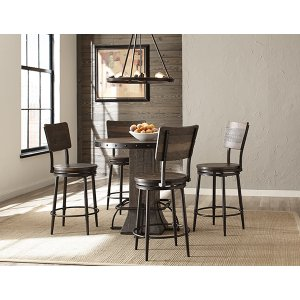 Hillsdale FurnitureJennings 5 Piece Round Counter Height Dining Set With Swivel Counter Stools - Distressed Walnut Wood