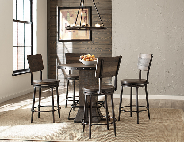 Jennings 5 Piece Round Counter Height Dining Set With Swivel Counter Stools    Distressed Walnut Wood