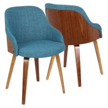 Bacci Chair - Walnut Wood, Teal Fabric