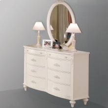 Eight Drawer Double Dresser and Oval Mirror