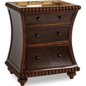 """30"""" vanity with rosewood finish and hand-carved beaded details."""