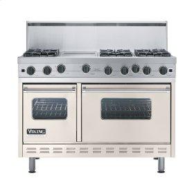 """Oyster Gray 48"""" Open Burner Range - VGIC (48"""" wide, six burners 12"""" wide griddle/simmer plate)"""