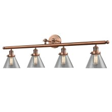 214W-AC-G42 - LARGE GLASS CONE 4 LIGHT WALL SCONCE