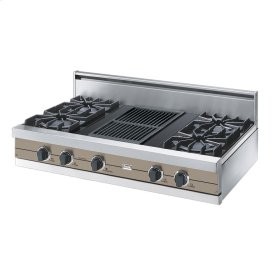 "Taupe 42"" Open Burner Rangetop - VGRT (42"" wide, four burners 12"" wide char-grill)"