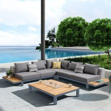 Armen Living Polo 4 piece Outdoor Sectional Set with Dark Gray Cushions and Modern Accent Pillows