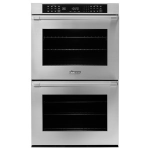 "Dacor30"" Heritage Double Wall Oven in Black Glass - ships with Epicure Style black handle."