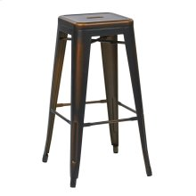 "Bristow 30"" Antique Metal Barstool, Antique Copper Finish, 2 Pack"