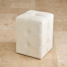 Belted Poof-Ivory Marbled Leather
