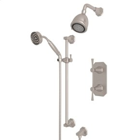 Satin Nickel Deco U.KIT56LS Thermostatic Shower Package with Deco Metal Lever