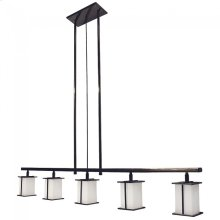 Five-Globe Chandelier Silicon Bronze Brushed