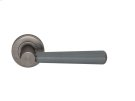 Tube Stitch Incombination Leather Door Lever In Slate Grey And Vintange Nickel Product Image