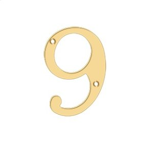 """4"""" Numbers, Solid Brass - PVD Polished Brass"""