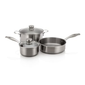 Stainless Cookware Set with 3 Pans and 2 Lids -