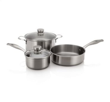 Stainless Cookware Set with 3 Pans and 2 Lids
