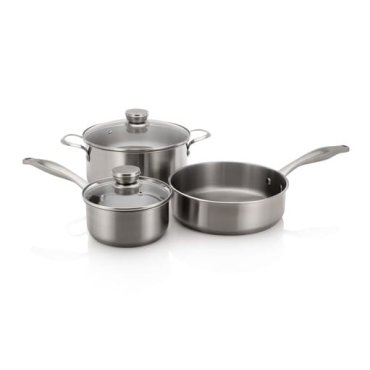 Frigidaire Stainless Cookware Set with 3 Pans and 2 Lids