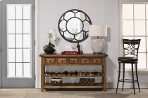 Tuscan Retreat® Wine Rack Hall Table With 5 Drawers - Old World Pine Product Image