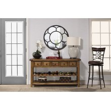 Tuscan Retreat® Wine Rack Hall Table With 5 Drawers - Old World Pine