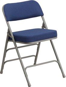 HERCULES Series Premium Curved Triple Braced & Double-Hinged Navy Fabric Metal Folding Chair