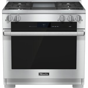 Miele36 inch range Dual Fuel with M Touch controls, Moisture Plus and M Pro dual stacked burners