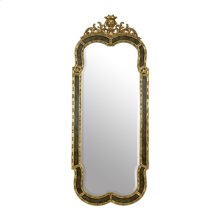 Painted Faux Marble Finished Mirror with Gold Accents, Beveled Glass