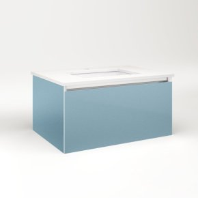 """Cartesian 30-1/8"""" X 15"""" X 21-3/4"""" Single Drawer Vanity In Ocean With Slow-close Full Drawer and No Night Light"""