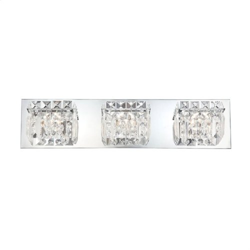 Crown Vanity - 3 Light Clear Crystal glass / Chrome finish